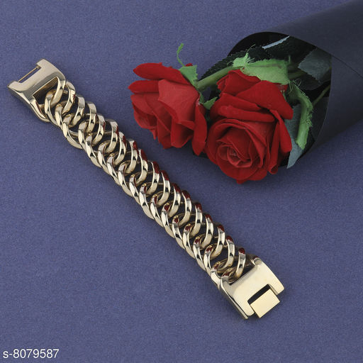 SILVERSHINE Stylish  Gold Plated Chain Type  Designer Bracelet for men Jewellery