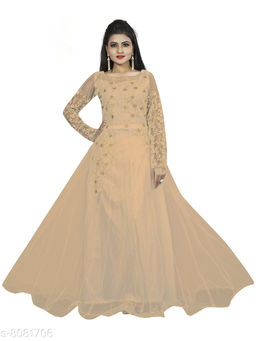 Femvy Embroidered Net Semi Stitched Anarkali Gown