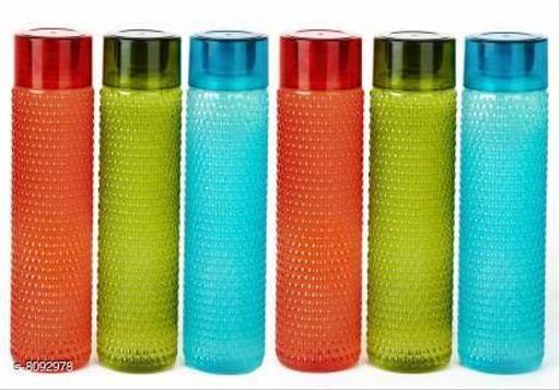 Bubble Shape Designer Water Bottle for School,College,Office 1000 ml Bottle (Pack of 6, Multicolor, Plastic)