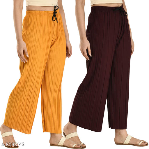 Women's Solid Pack of 2 Palazzo Combo