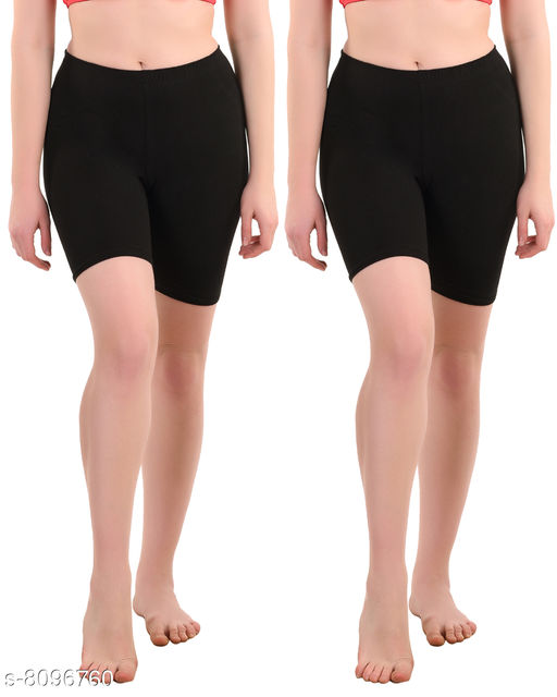Ansh Fashion Wear's Spandex Soft Cotton Lycra Cycling Shorts/Shorties - Pack of 2