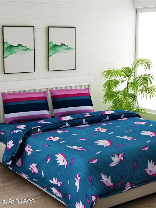 Green Floral Double Bedsheet Set