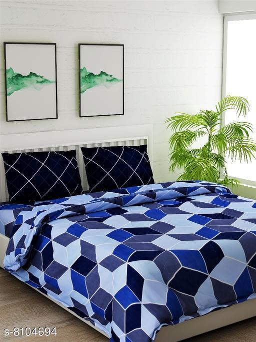 Blue Geometric Double Bedsheet Set