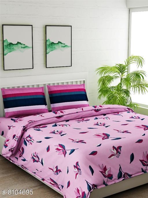 Pink Floral Double Bedsheet Set