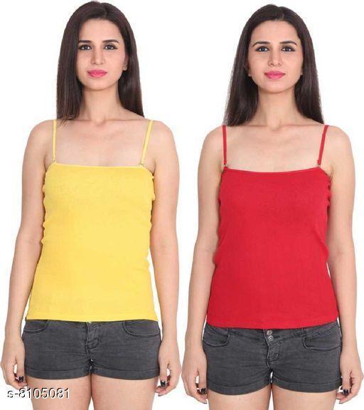 Women Pack of 2 Multicolor Cotton Camisoles