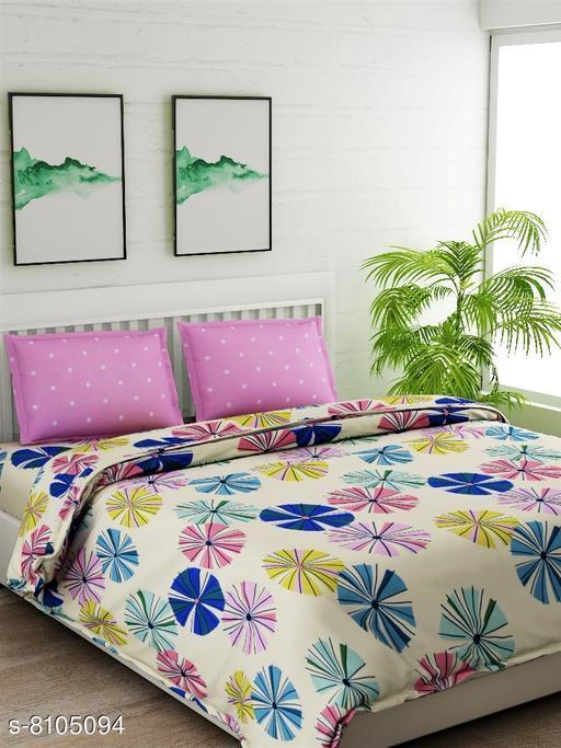 Beige Floral Double Bedsheet Set