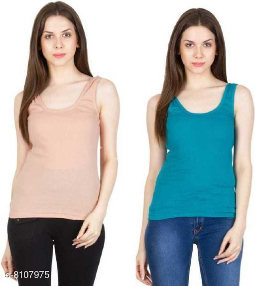 Women Pack of 2 Nude Cotton Camisoles