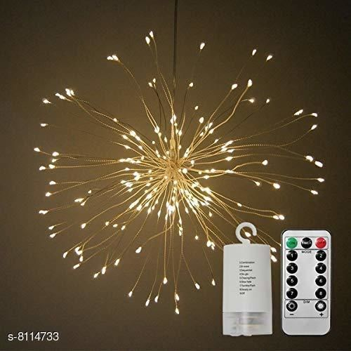 Brand World Firework LED Light, Copper Wire 120 LEDs Light Waterproof Sparkle Lights with Remote Control for Room, Garden, Patio, Wedding, Party, DIY Decoration (Yellow, 1 Unit)