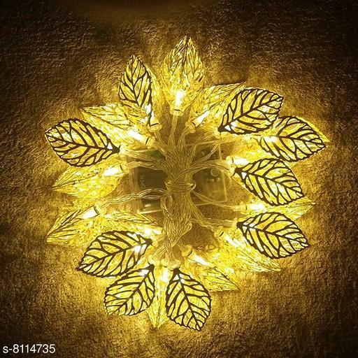 Brand World Golden Metal Leaf String20  Led Decorative Lights for Home Hanging Bedroom Birthday Party Decoration Items