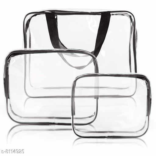 3 Pack Clear PVC Cosmetic Bags Travel Toiletry Bag Set Waterproof Zipper Packing Cubes Organizer