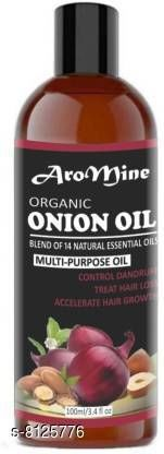 Herbal Products AroMine Premium Herbal ONION Hair Oil - Blend of 14 Natural Oils for Hair Regrowth, Treat hair loss, Dandruff Control & Thickens hair Onion Hair Growth Oil - Nourishing Hair Fall Treatment with 100% Real Onion Extract, Argan Oil, Jojoba Oil, Bhringraj, Shea Butter, Mango Butter and More - Intensive Hair Fall Dandruff Treatment Hair Oil (100 ml) Hair Oil (100 ml) Hair Oil (100 ml)  *Product Name* AroMine Premium Herbal ONION Hair Oil - Blend of 14 Natural Oils for Hair Regrowth, Treat hair loss, Dandruff Control & Thickens hair Onion Hair Growth Oil - Nourishing Hair Fall Treatment with 100% Real Onion Extract, Argan Oil, Jojoba Oil, Bhringraj, Shea Butter, Mango Butter and More - Intensive Hair Fall Dandruff Treatment Hair Oil (100 ml) Hair Oil (100 ml) Hair Oil (100 ml)  *Multipack* 1  *Flavour* Argan Oil hair_oil  *Sizes Available* Free Size *    Catalog Name:  Proffesional Ultra Herbal Oil CatalogID_1348571 C50-SC1297 Code: 782-8125776-005