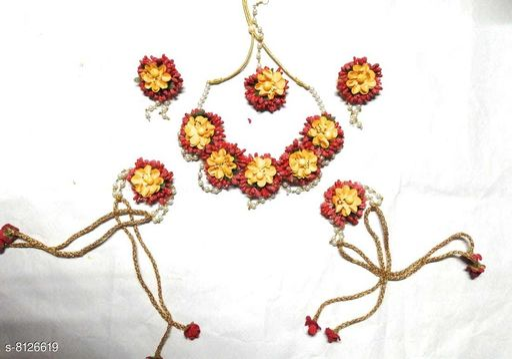 Jewellery Set Beautiful Bridal flower jewellery set for woman and girls  *Base Metal* Plastic  *Plating* No Plating  *Stone Type* Artificial Stones  *Sizing* Adjustable  *Type* Full Bridal Set  *Sizes Available* Free Size *    Catalog Name: Feminine Chic Jewellery Sets CatalogID_1348755 C77-SC1093 Code: 785-8126619-