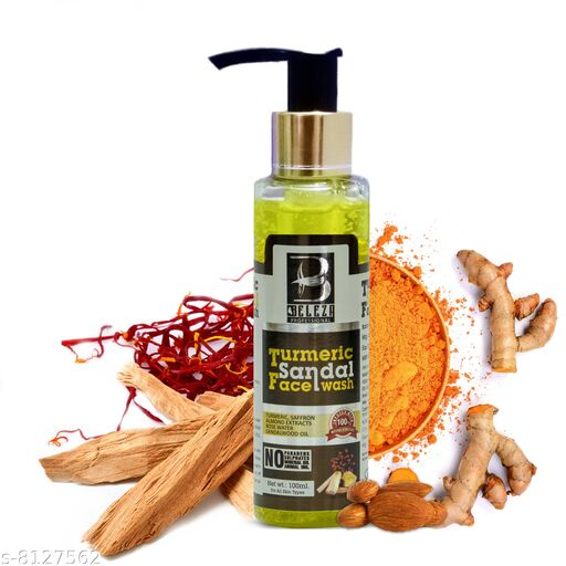 Beleza Professional TUMERIC SANDAL FACE WASH || 100 ml || Give Natural Radiance and Glow with Antiseptic properties.