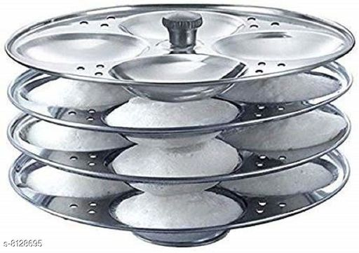 Stainless Steel Induction Base 4 Tier Idli Maker/Idli Stand | Idli Plates | Idli Steamer| Idli Sancha (16 Idli)