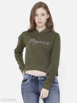 Elegance Women's Full Sleeve Cropped Embroidery Hooded Sweatshirt