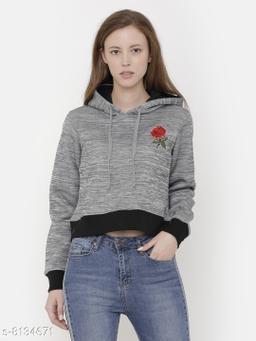 Elegance Women's Full Sleeve Cropped Embroidery Sweatshirt