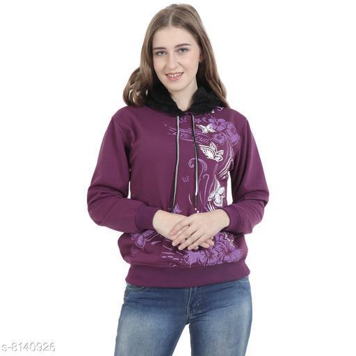 Beautiful Floral Print Sweatshirt with Hoodie-Mauve