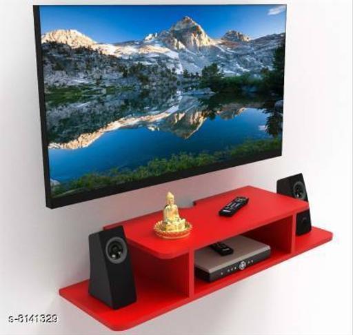 Rust Proof TV Setup Box & Remote Stand Wooden Wall Shelf