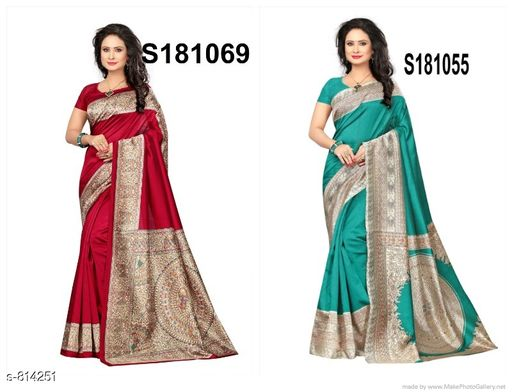 Sarees  Elegant Mysore Silk Saree Combo  *Fabric* Saree - Mysore Silk, Blouse - Mysore  Silk  *Size* Saree Length With Running Blouse 6.3 Mtr  *Description* It Has 2 Pieces Of Saree With 2 Pieces Of Running Blouse  *Work* Printed  *Sizes Available* Un Stitched, Free Size, Semi Stitched *    Catalog Name: Alisha Elegant Mysore Silk Printed Sarees Combo Vol 2 CatalogID_93704 C74-SC1004 Code: 034-814251-