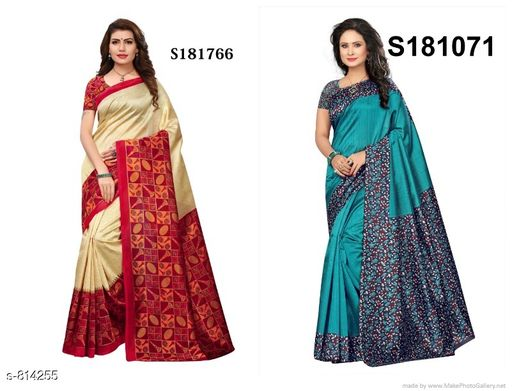 Sarees  Elegant Mysore Silk Saree Combo  *Fabric* Saree - Mysore Silk, Blouse - Mysore  Silk  *Size* Saree Length With Running Blouse 6.3 Mtr  *Description* It Has 2 Pieces Of Saree With 2 Pieces Of Running Blouse  *Work* Printed  *Sizes Available* Un Stitched, Free Size, Semi Stitched *    Catalog Name: Alisha Elegant Mysore Silk Printed Sarees Combo Vol 2 CatalogID_93704 C74-SC1004 Code: 034-814255-