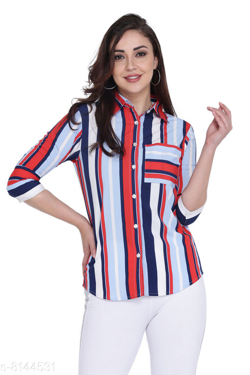 Jaconet Apparel Stripe Print Casual Shirt For women