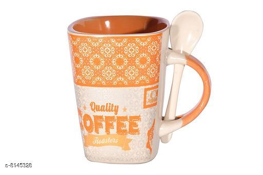 Gifts & Mugs Trend N Art Ceramic Coffee/Tea/Milk Cup with Ceramic Spoon Ceramic Mug   *Material  * Ceramic  *Spoon Material * Ceramic  *Size * Free Size  *Pack * Pack Of 2  *Capacity Of Mug * 300 ml  *Sizes Available* Free Size *    Catalog Name:  Coffee Mug CatalogID_1353073 C127-SC1268 Code: 703-8145328-