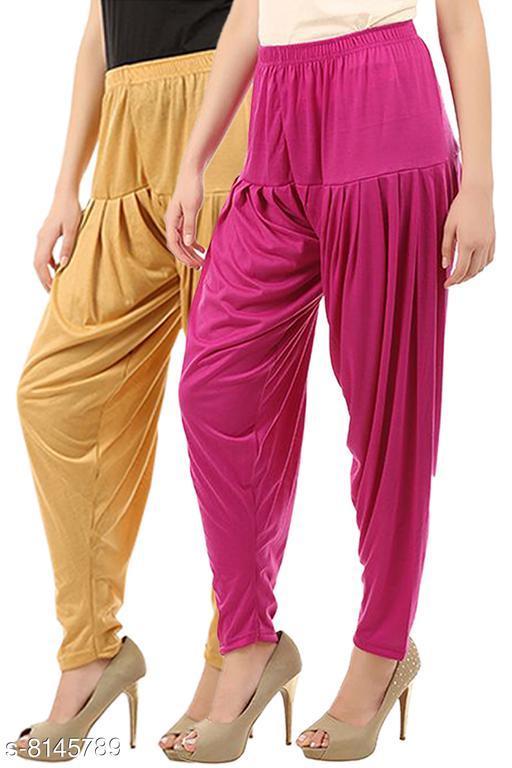 Buy That Trendz  Women's Cotton Viscose Lycra Dhoti Patiyala Salwar Harem Bottoms Pants Dark Skin Rani Pink Combo Pack of 2