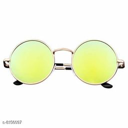 ARZONAI Fashion New Round Oval Stylish Sunglasses for Men & Women (Golden-Yellow Mirror)