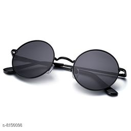 ARZONAI Fashion New Round Oval Stylish Sunglasses for Men & Women (Black-Black)