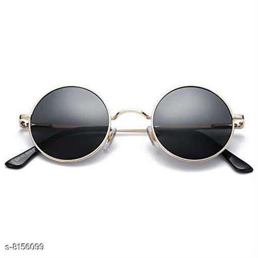 ARZONAI Fashion New Round Oval Stylish Sunglasses for Men & Women (Golden-Black)