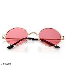 ARZONAI Fashion New Round Oval Stylish Sunglasses for Men & Women (Golden-Pink)