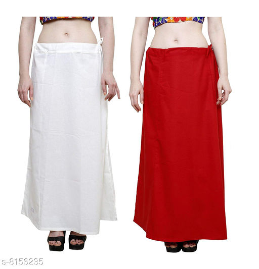 Raj Women's Cotton Petticoat -White & Red, Free Size (Pack of 2)