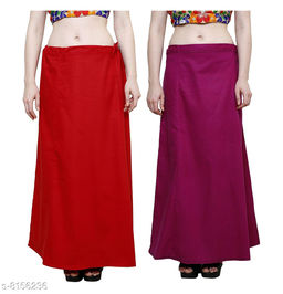 Raj Women's Cotton Petticoat -Red & Maroon, Free Size (Pack of 2)