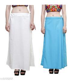 Raj Women's Cotton Petticoat -White & Aqua Blue, Free Size (Pack of 2)