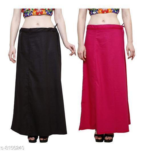 Raj Women's Cotton Petticoat -Black & Dark Pink, Free Size (Pack of 2)