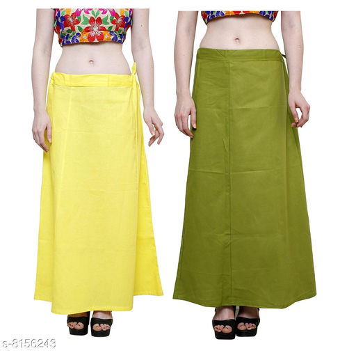 Raj Women's Cotton Petticoat -Green & Lemon Yellow, Free Size (Pack of 2)