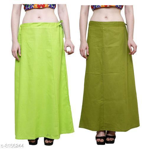 Raj Women's Cotton Petticoat -Green & Lt Green, Free Size (Pack of 2)