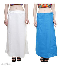 Raj Women's Cotton Petticoat -White & White, Free Size (Pack of 2)