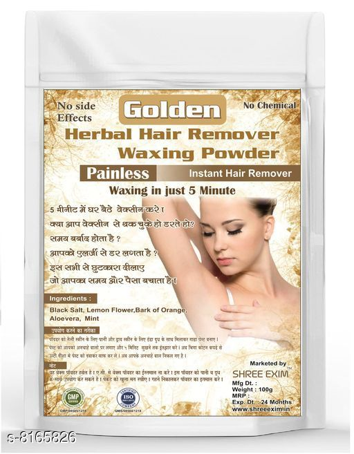 Herbal Products Herbal Painless Waxing Powder  *Product Name* Herbal Waxing Powder  *Brand Name* Shree Exim  *Product Type* Powder  *Flavor* Golden  *Capacity* 100 gm  *Multi Pack* 1  *Sizes Available* Free Size *   Catalog Rating: ★4.2 (6)  Catalog Name: Herbal Painless Waxing Powder CatalogID_1357614 C52-SC1311 Code: 462-8165826-