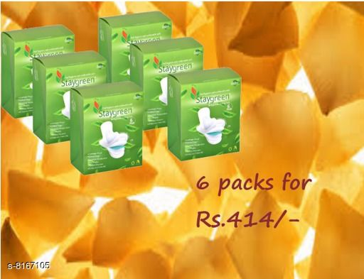 Feminine Hygiene Staygreen organic cotton Sanitary Pads.  *Material* Organic cotton  *Color* White 100% natural & organic pads.  *Multipack* pack of 6  *Sizes Available* Free Size *    Catalog Name: Feminine Hygiene pad CatalogID_1357925 C126-SC1279 Code: 344-8167105-