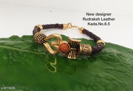 Beautiful lather Rudraksha kada for men