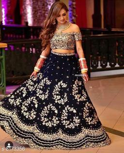 South Indian Style Taffeta Silk With Chain and Diamond work Bridal Lehenga