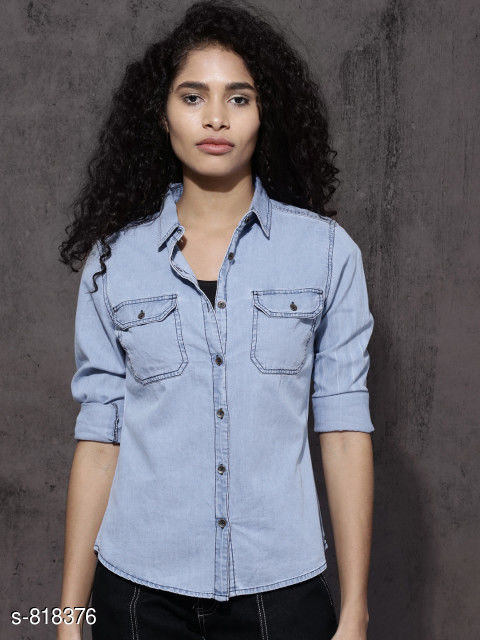 Shirts Stylish Women's Shirt  *Fabric* Denim  *Sleeves* Sleeves Are Included    *Size* S - 36 in, M - 38 in, L - 40 in, XL - 42 in  *Length* Up To 26 in  *Type* Stitched  *Description* It Has 1 Piece Of Women's Shirt  *Pattern* Solid  *Sizes Available* XXS, XS, S, M, L, XL, XXL, XXXL, 4XL, 5XL, 6XL, 7XL, 8XL, 9XL, 10XL, Free Size *   Catalog Rating: ★3.9 (1104)  Catalog Name: Free Mask Trendyfrog Ladies Denim And Cotton Shirts Vol 1 CatalogID_94254 C79-SC1022 Code: 043-818376-