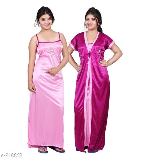 Nightdress Stylish Satin Night Dress  *Fabric* Satin  *Sleeves* Nighty - Sleeves Are Not Included, Robe - Short Sleeves Are Included  *Size* Up To 36 in To 42 in (Free Size)  *Type* Stitched  *Description* It Has 1 Piece Of Slip And 1 Piece Of Robe  *Work* Embroidery  *Sizes Available* Free Size *   Catalog Rating: ★4.1 (3185)  Catalog Name: Fancy Satin Night Dresses Vol 1 CatalogID_94294 C76-SC1044 Code: 643-818612-