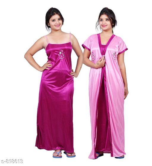 Nightdress Stylish Satin Night Dress Fabric: Satin Sleeves: Nighty - Sleeves Are Not Included, Robe - Short Sleeves Are Included Size: Up To 36 in To 42 in (Free Size) Type: Stitched Description: It Has 1 Piece Of Slip And 1 Piece Of Robe Work: Embroidery Sizes Available: Free Size   Catalog Rating: ★4.1 (3516)  Catalog Name: Free Mask Fancy Satin Night Dresses Vol 1 CatalogID_94294 C76-SC1044 Code: 603-818613-