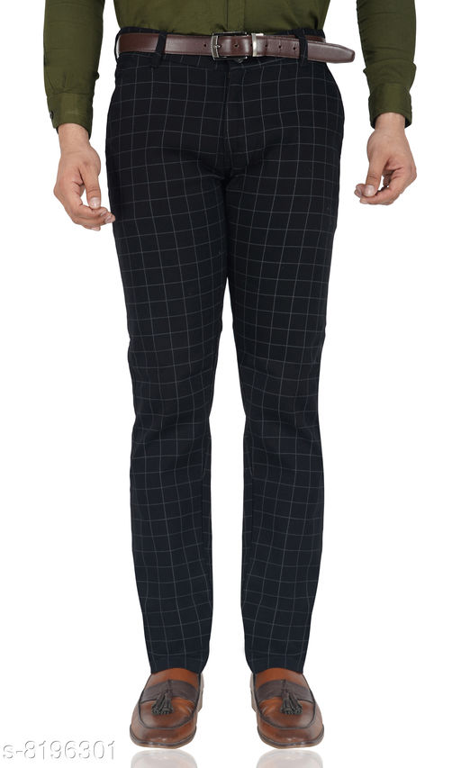 Black check casual trousers