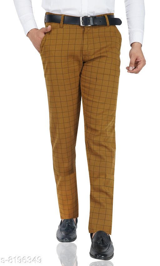 Brown check casual trousers