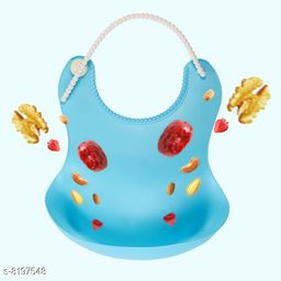 Advikavya Waterproof Silicone Baby Bib for Feeding Babies and Toddlers, Unisex with Food Catching Pocket Set of 2 Silicone Baby Bibs (Random Colour)