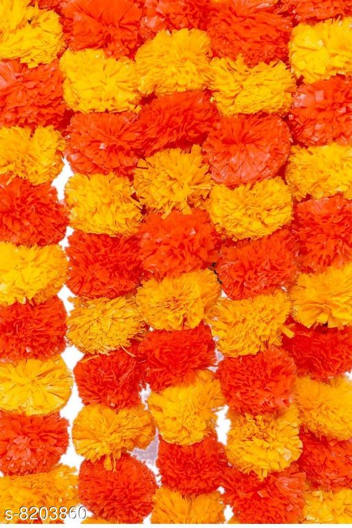 Marigold Artifcial Flower Trendy Decoration Garland Creeper Home Décor Pack Of 5 Strings