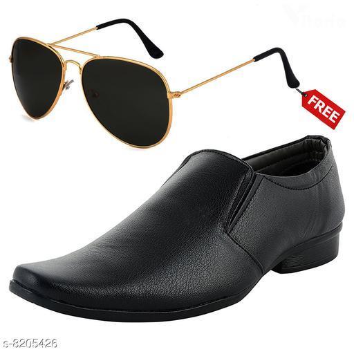 Stylish Men's PU Black Formal Shoes